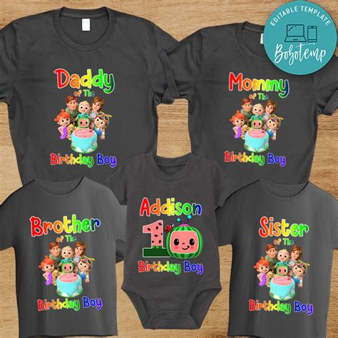 Cocomelon First Birthday Family Matching Party Shirts