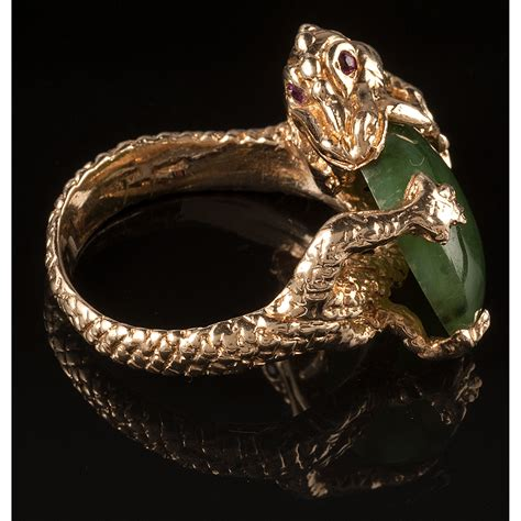 14k Gold Dragon Ring with Nephrite   Cowan's Auction House